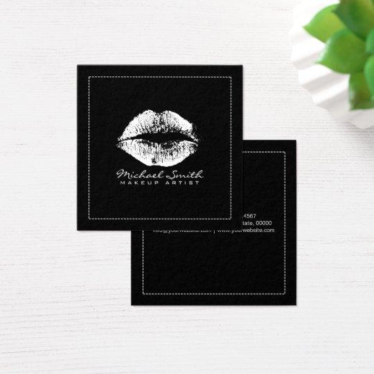 Makeup Artist Stylish White Lips Modern Black Square