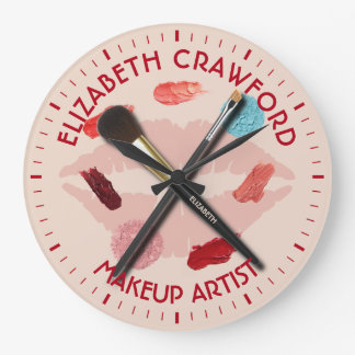 Makeup Artist Stylist Beauty Salon With Your Name Large Clock