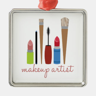 Makeup Artist Tools Silver-Colored Square Decoration