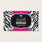 Makeup Artist - Trendy Zebra Print Hot Pink Business Card