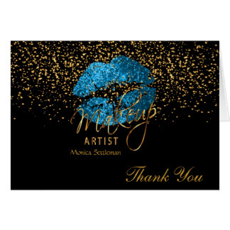 Makeup Artist  Turquoise Blue Lips on Black Card