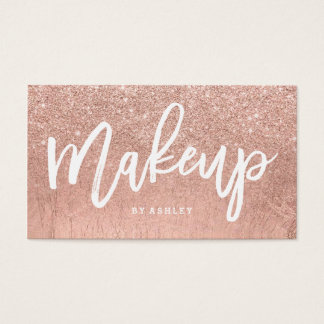Makeup artist typography faux rose gold glitter