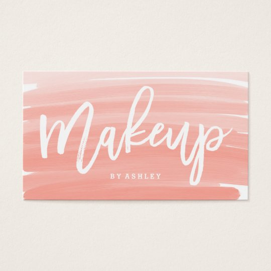 Makeup artist typography pink ombre brushstrokes business card