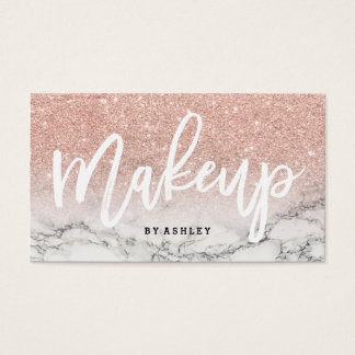 Makeup artist typography rose gold glitter marble