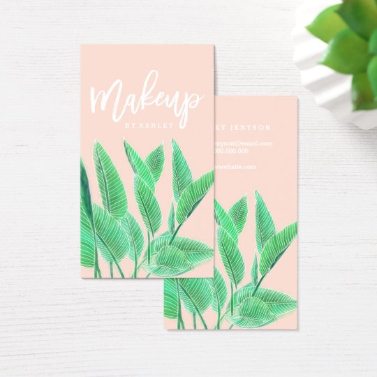 Makeup artist typography watercolor tropical leaf business card