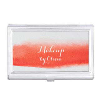 Makeup Artist Watercolor Coral Business Card Holder