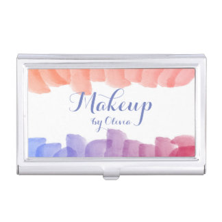 Makeup Artist Watercolor Paint Strokes Business Card Holder