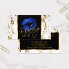 Makeup Artist - White Marble Gold Accents & Blue Business Card