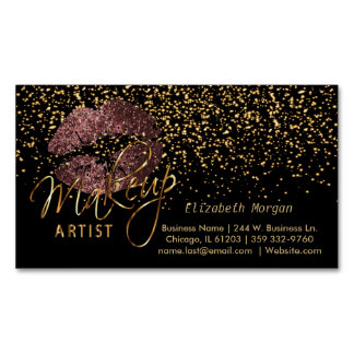 Makeup Artist with Gold Confetti & Dark Rose Lips Magnetic Business Card
