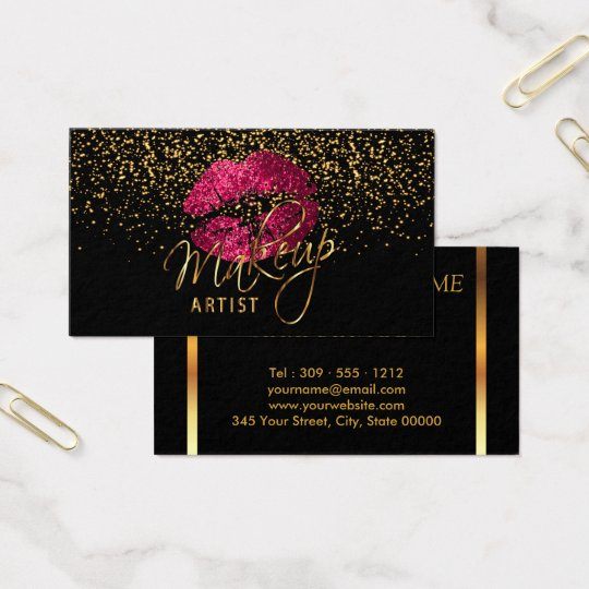 Makeup artist with gold confetti hot pink lips business card makeup artist with gold confetti hot pink lips business card colourmoves