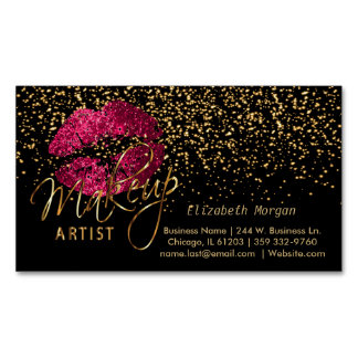 Makeup Artist with Gold Confetti & Hot Pink Lips Magnetic Business Card
