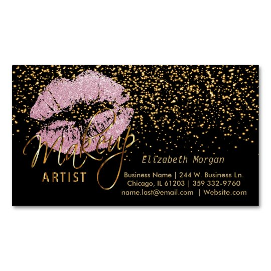 Makeup Artist with Gold Confetti & Pink Lips Magnetic Business Card