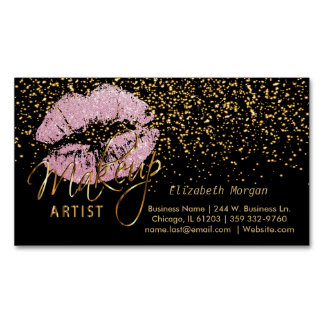 Makeup Artist with Gold Confetti & Pink Lips Magnetic Business Cards