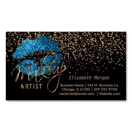 Makeup Artist with Gold Confetti & Turquoise Lips