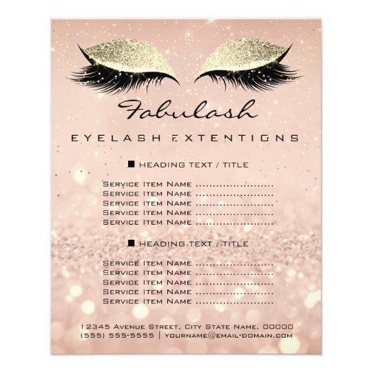 Makeup Beauty Salon Glitter Flyer Pink Gold Blush