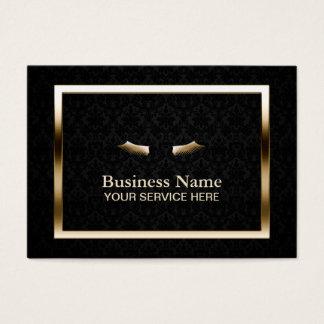 Makeup Beauty Salon Gold Frame Elegant Damask Business Card
