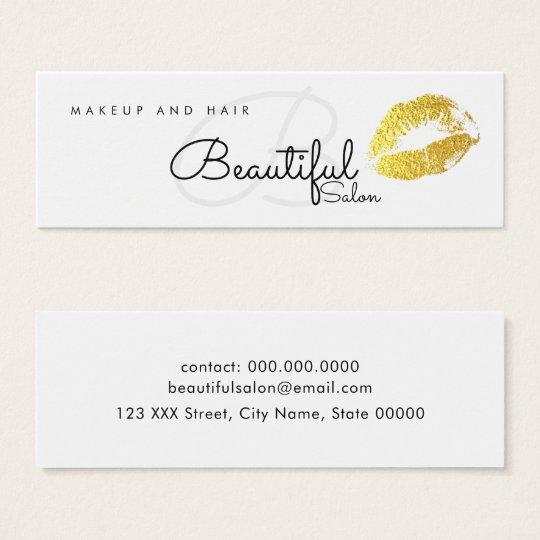 makeup / beauty salon monogram with gold lips