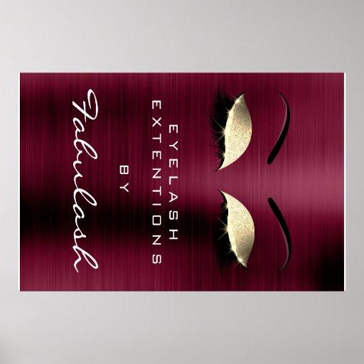 Makeup Beauty Salon Name Gold Burgundy Eyebrows Poster