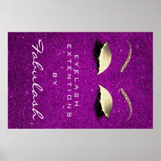 Makeup Beauty Salon Name Gold Eyebrow Fuchsia Pink Poster