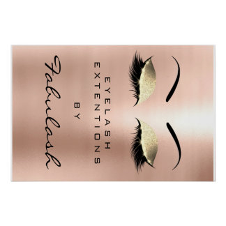 Makeup Beauty Salon Name Gold Glam Pink Eyebrows Poster