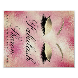 Makeup Beauty Salon Name Gold Glitter Sharon Peony Poster