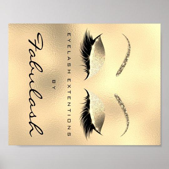 Makeup Beauty Salon Name Gold Glitter VIP Poster
