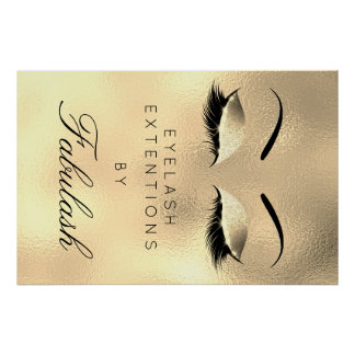 Makeup Beauty Salon Name Gold Luxury Eyebrows Poster