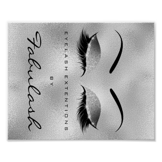 Makeup Beauty Salon Name Silver Glitter Eyebrows Poster