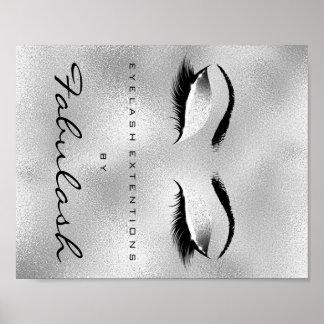 Makeup Beauty Salon Name Silver Glitter Gray Poster