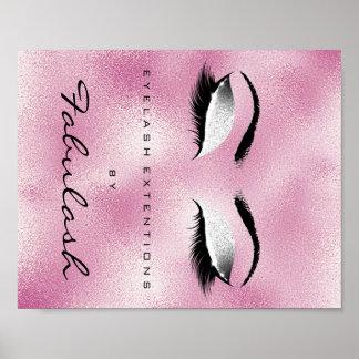 Makeup Beauty Salon Name Silver Glitter Pink Poster