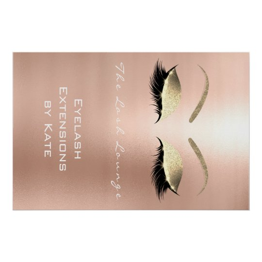 Makeup Beauty Salon Name White Gold Rose Eyebrows Poster