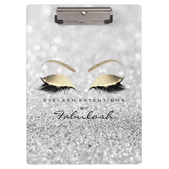 Makeup Beauty Studio Lashes Silver Gray Gold Clipboard