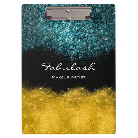 Makeup Beauty Teal Lashes Gold Confetti Glitter Clipboard