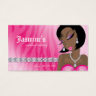 Makeup Business Card African American Zebra Pink