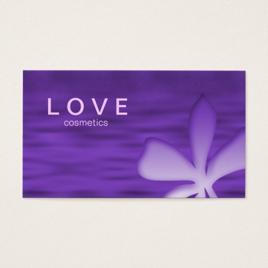 Makeup Business Card Flower Purple Cosmetics