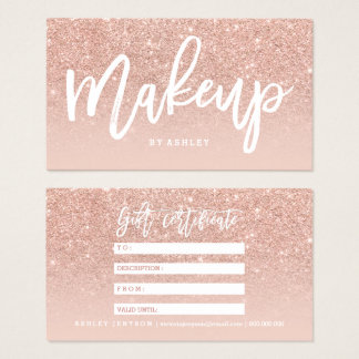 Makeup certificate typography blush rose gold