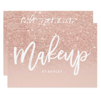 Makeup certificate typography blush rose gold card