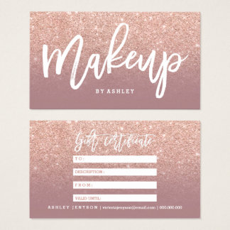 Makeup certificate typography dusty rose gold