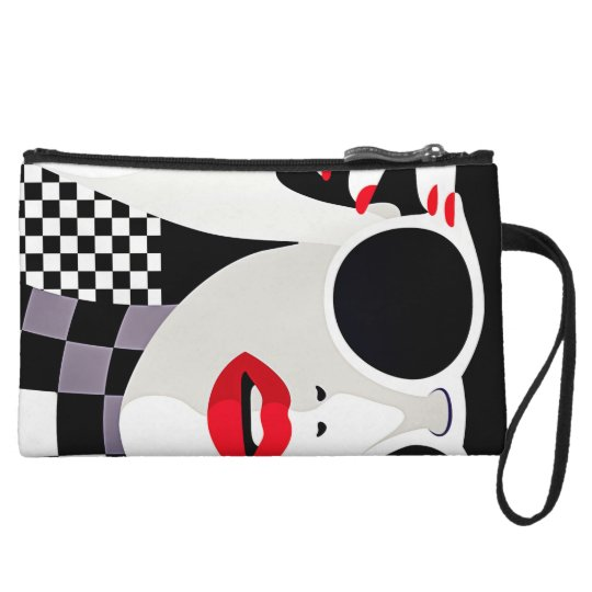 makeup chequered gilry mini clutch wristlet