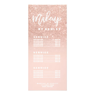 Makeup chic typography blush rose gold price list rack card