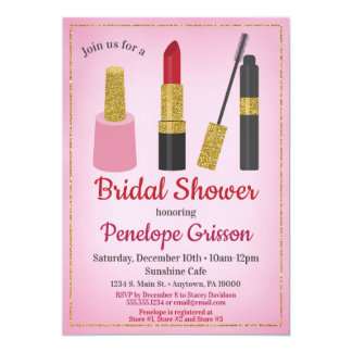 Makeup Cosmetics Bridal Shower Invitation Beauty