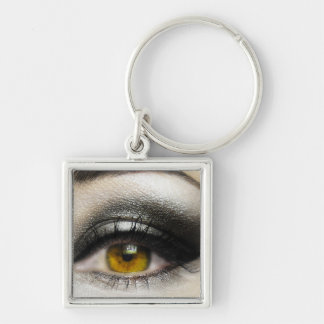 makeup Cosmetics Eye Silver-Colored Square Key Ring