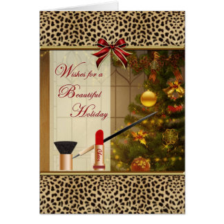 Makeup Cosmetics Happy Holidays Animal Print Card