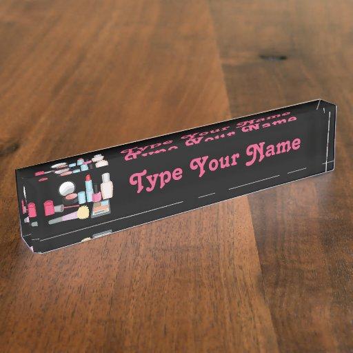 Makeup Design Customizable Name Plate
