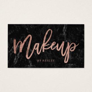 Makeup elegant rose gold typography black marble