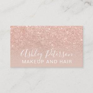 Makeup elegant typography blush rose gold glitter business card