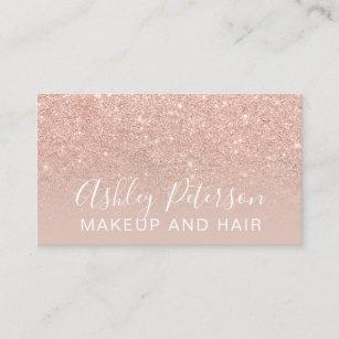 Glitter business cards business card printing zazzle uk makeup elegant typography blush rose gold glitter business card colourmoves