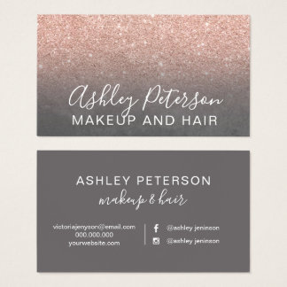 Makeup elegant typography grey rose gold glitter business card