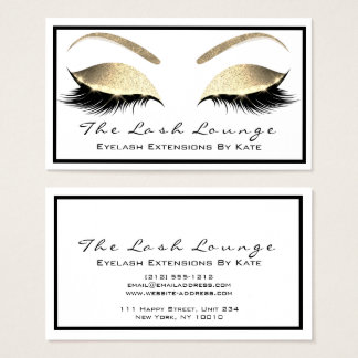 Makeup Eyebrow Beauty Lashes Glitter Gold White2 Business Card