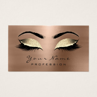 Makeup Eyebrow Eyes Lashes Glitter Gold Chocolate Business Card